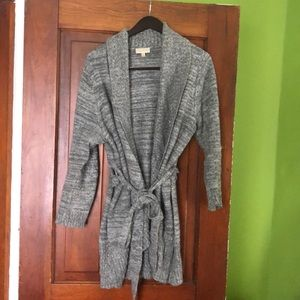 Grey tie front sweater from ModCloth